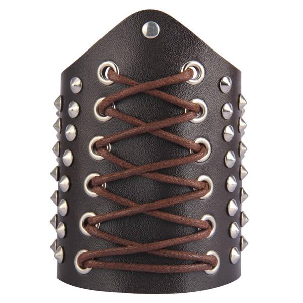 Men Studded Decor Bracelet, Brown