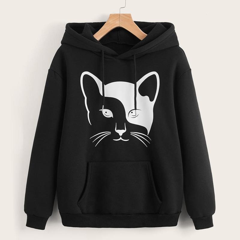 Cat Print Kangaroo Pocket Drawstring Thermal Lined Hoodie, Black