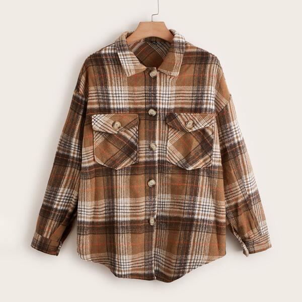 Plus Tartan Print Drop Shoulder Flap Pocket Coat, Multicolor