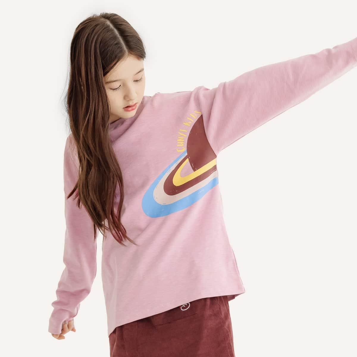 Girls Planet & Letter Graphic Drop Shoulder Tee