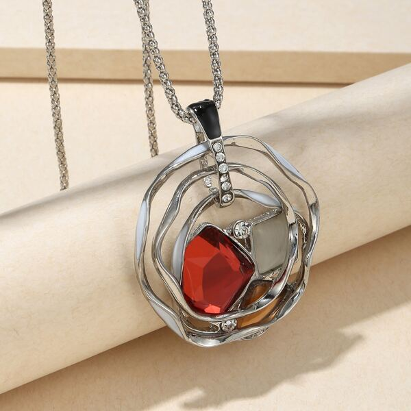Gemstone Detail Pendant Necklace, Silver