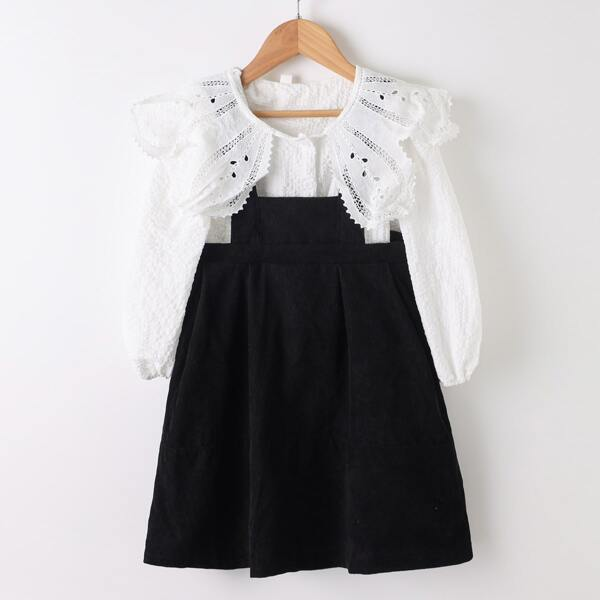 Girls Eyelet Embroidery Blouse & Solid Straps Dress, Black and white