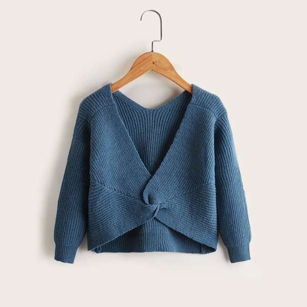 Girls Solid Twist Ribbed Knit Sweater, Dusty blue