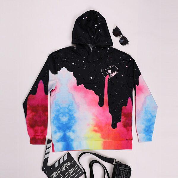 Men 1pc Tie Dye & Galaxy Print Hoodie, Multicolor