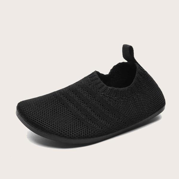 Baby Knit Detail Slip On Sneakers, Black