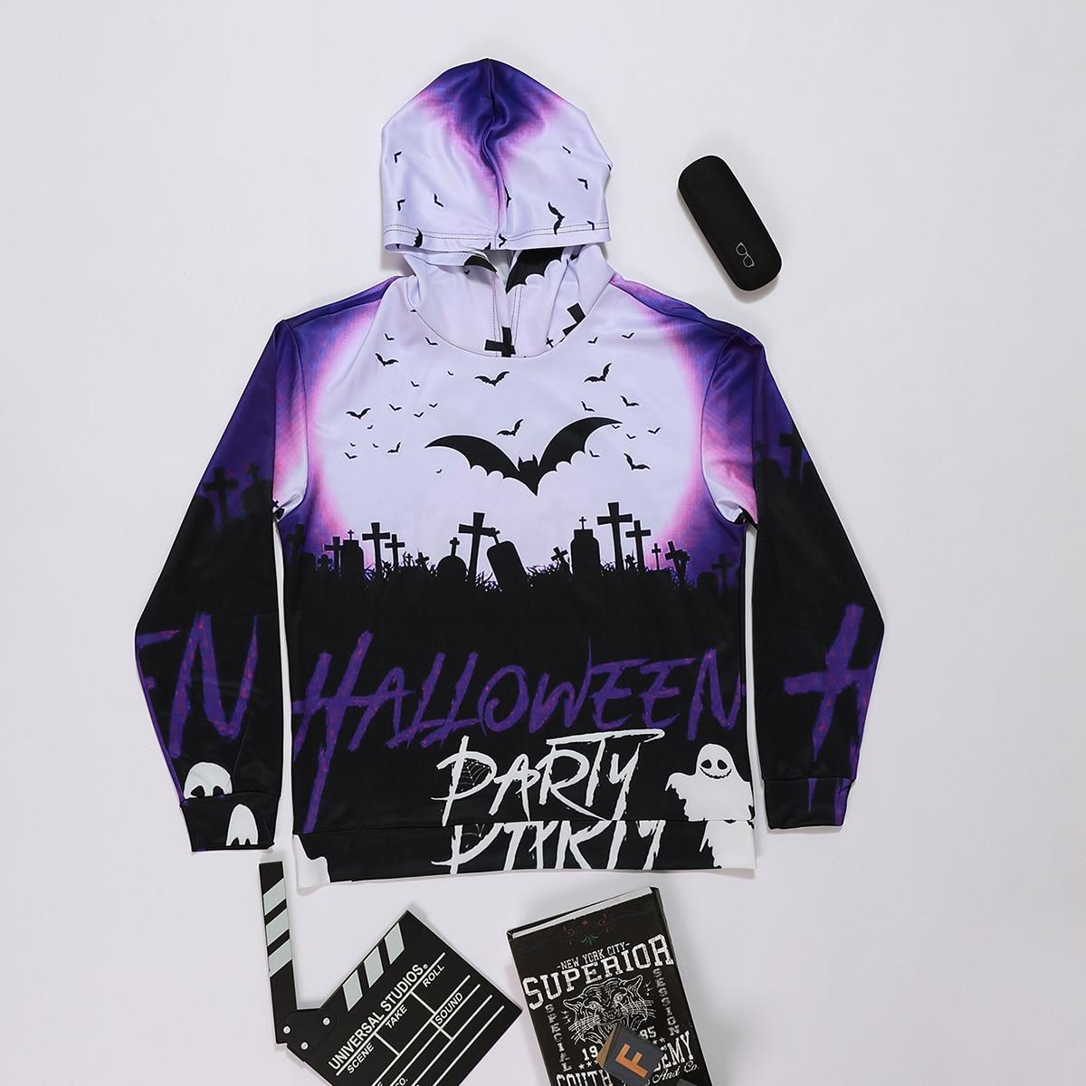 Homme 1 pièce Sweat-shirt à capuche halloween & lettre