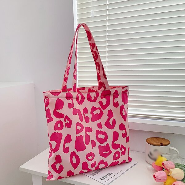 Leopard Pattern Shopper Bag, Pink