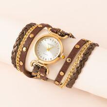 Rhinestone Decor Wrap Quartz Watch