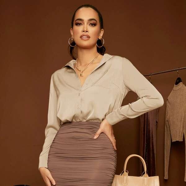 Блузка с карманом, Хаки