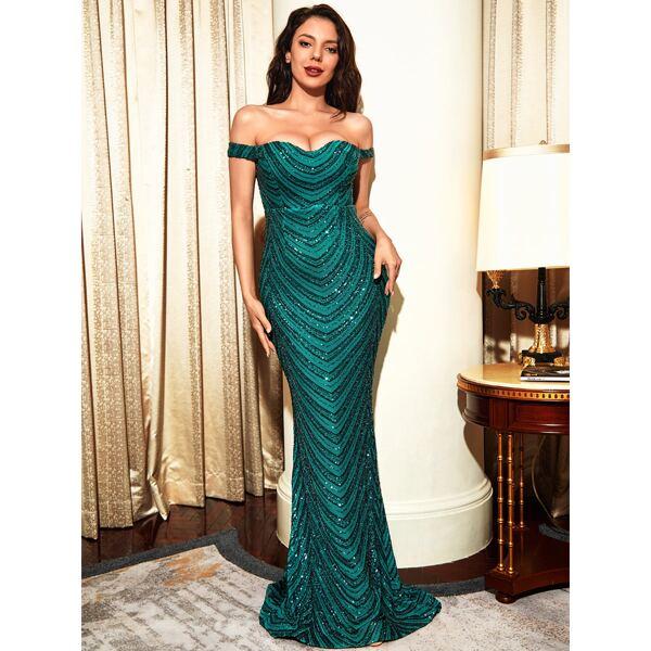 Off Shoulder Sequin Mermaid Prom Dress, Teal blue