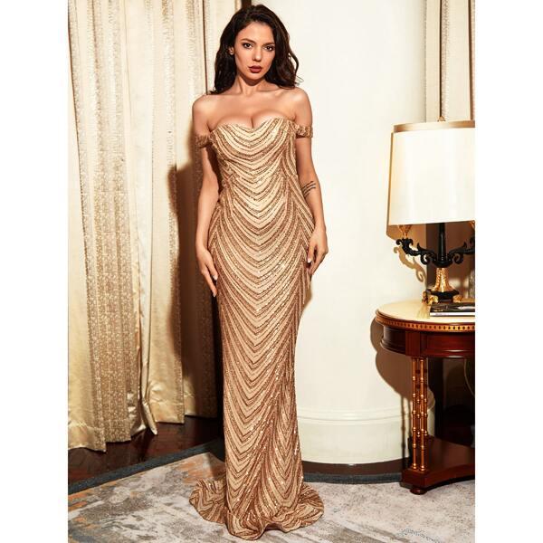 Off Shoulder Sequin Mermaid Prom Dress, Gold