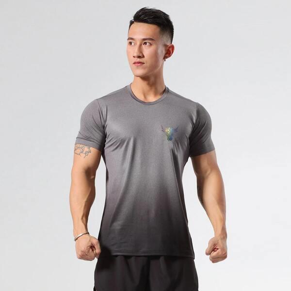 Men Bull Head Print Ombre Sports Tee, Grey