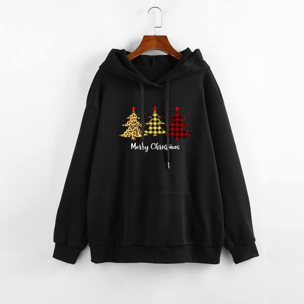 Plus Christmas Tree & Slogan Graphic Kangaroo Pocket Hoodie, Black