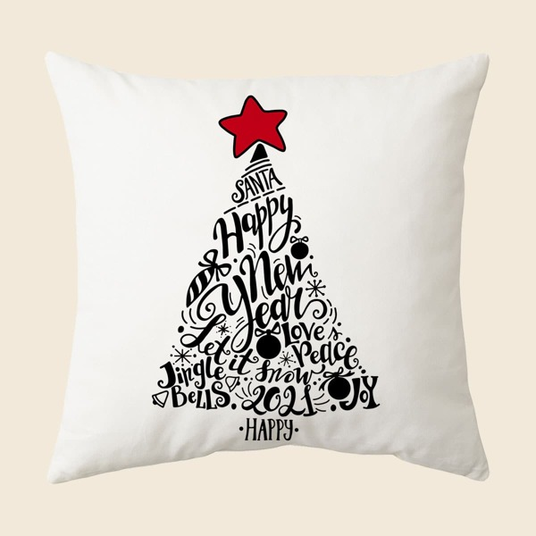 Christmas Tree Print Cushion Cover Without Filler, Multicolor