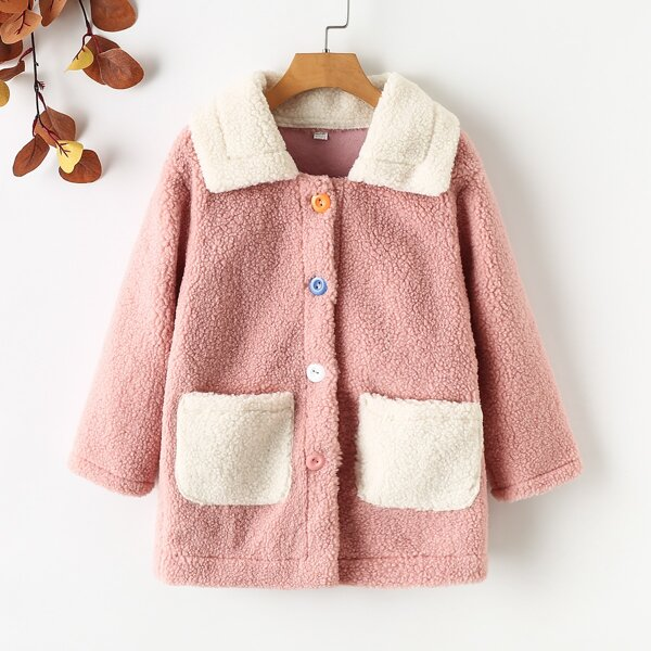 Girls Teddy Dual Pocket Patched Coat, Dusty pink