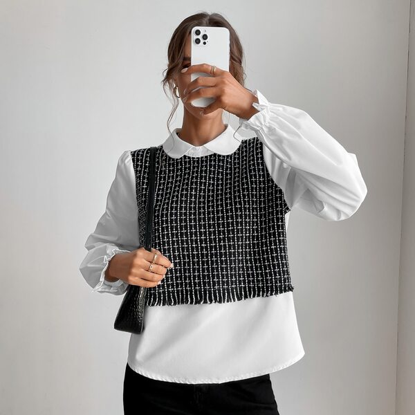 Plaid Pattern Raw Trim Flounce Sleeve Peter-pan Collar Blouse, Black and white