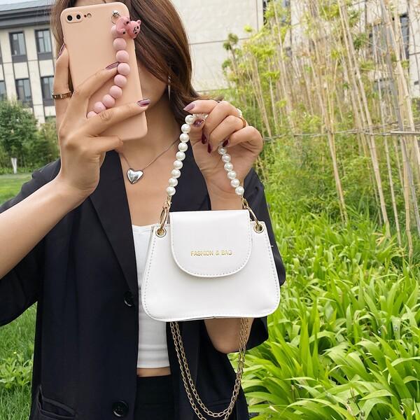 Faux Pearl Decor Flap Saddle Bag, White