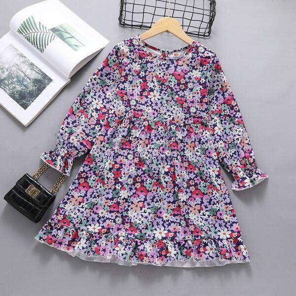 Girls Allover Floral Print Flounce Sleeve Ruffle Hem Dress, Multicolor