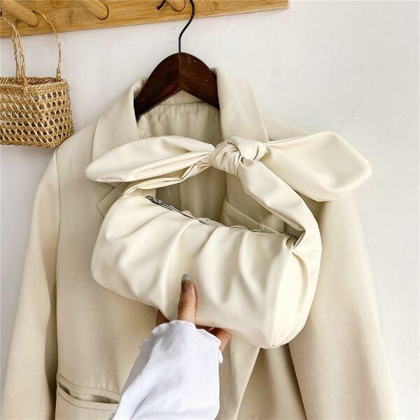 Minimalist Ruched Design Knot Decor Satchel Bag, Beige