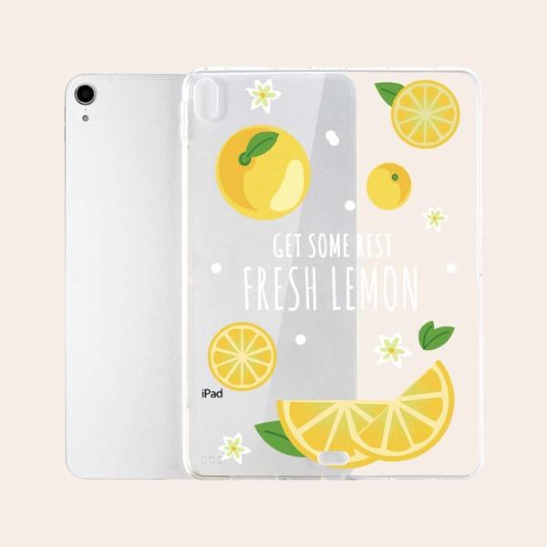 Lemon Pattern Clear Case For iPad, Multicolor