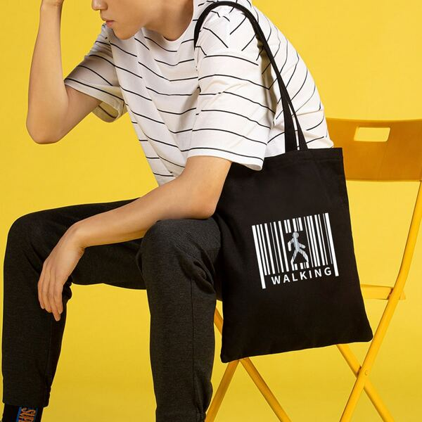 Letter & Figure Graphic Shopper Bag, Black