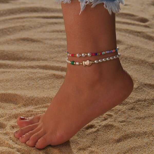 2pcs Girls Fish Decor Beaded Anklet, Multicolor