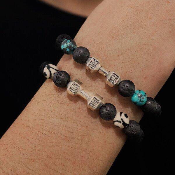 2pcs Stone Beaded Bracelet, Multicolor