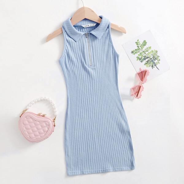 Girls Zip Half Placket Rib Knit Dress, Baby blue