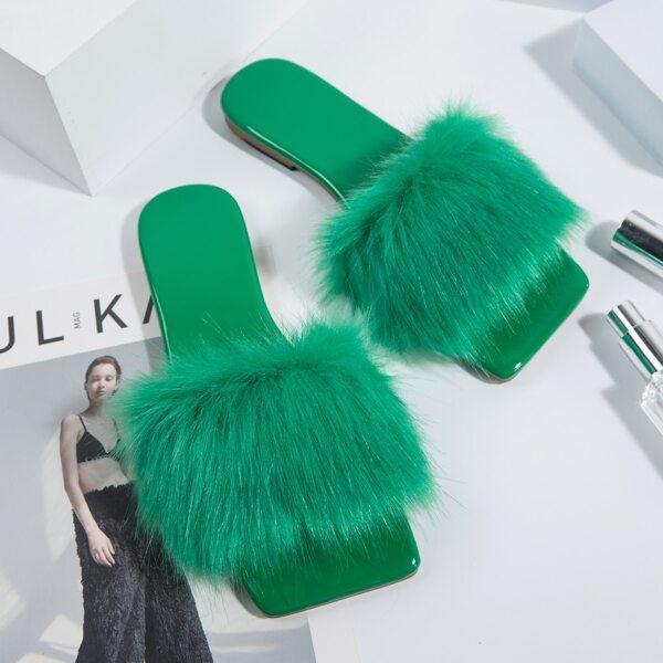 Fuzzy Slide Sandals, Green