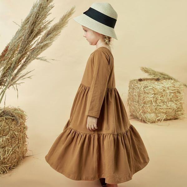 Toddler Girls Ruffle Hem Babydoll Dress, Camel