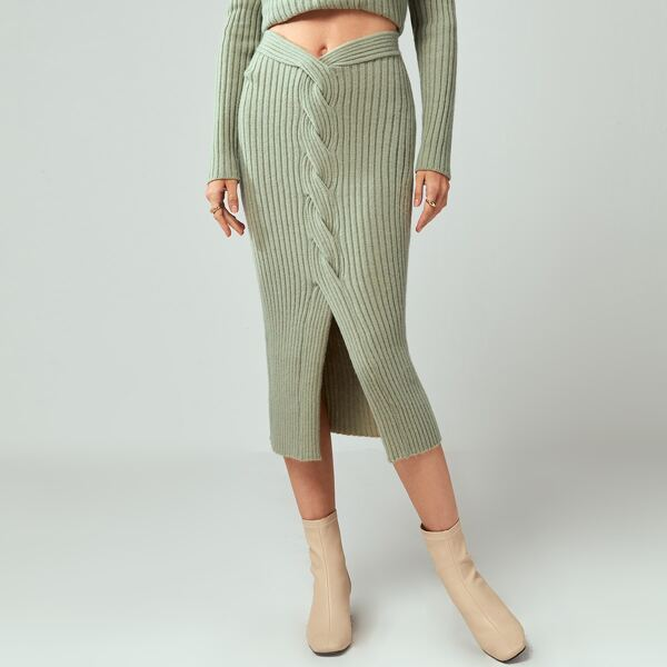 Slit Hem Rib Knit Skirt, Mint green