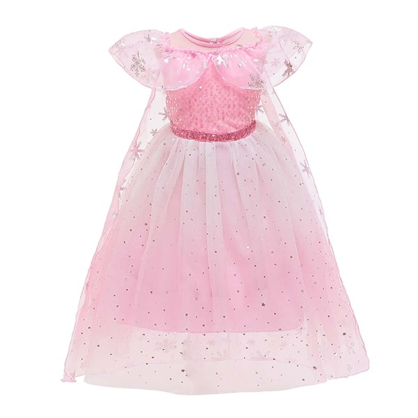Toddler Girls Sequin Decor Ruffle Trim Mesh Overlay Party Dress, Baby pink