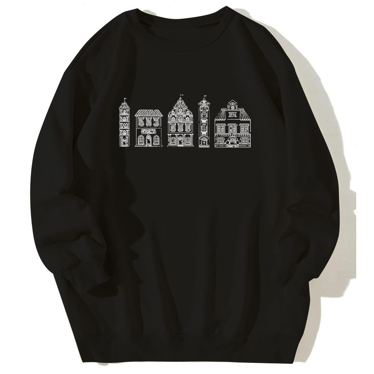 Plus Building Print Sweatshirt