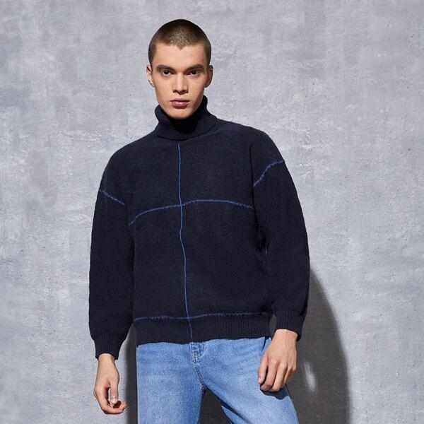 Men Turtleneck Stripe Pattern Drop Shoulder Sweater, Navy blue