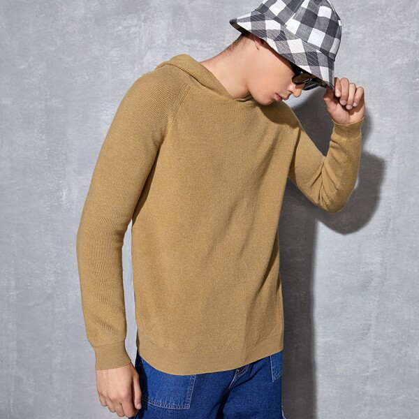 Men Raglan Sleeve Hooded Sweater, Camel