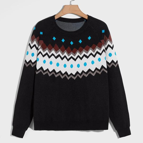 Plus Chevron Pattern Raglan Sleeve Sweater, Black