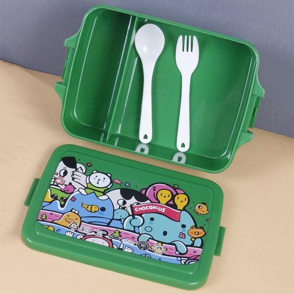 1set Cartoon Graphic Lunch Box, Multicolor
