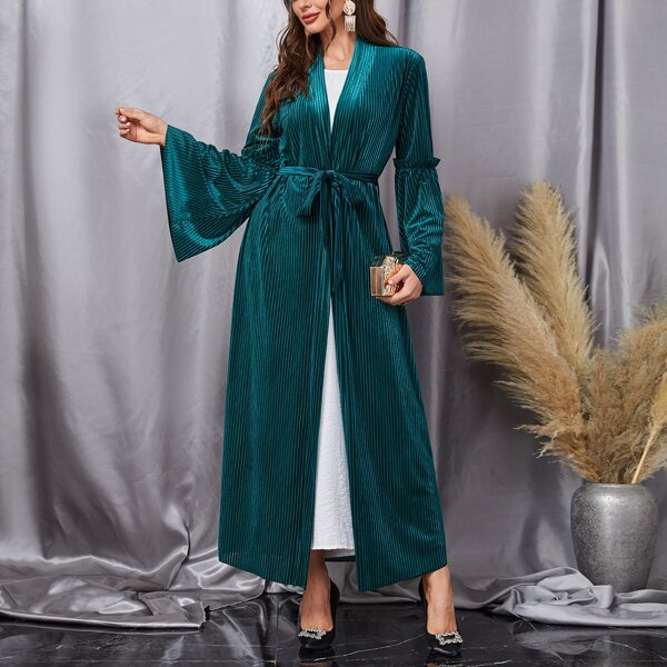 Self Tie Velvet Abaya, Dark green