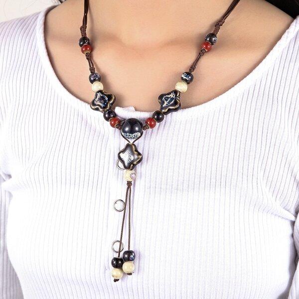 Ceramic Beaded Necklace, Multicolor