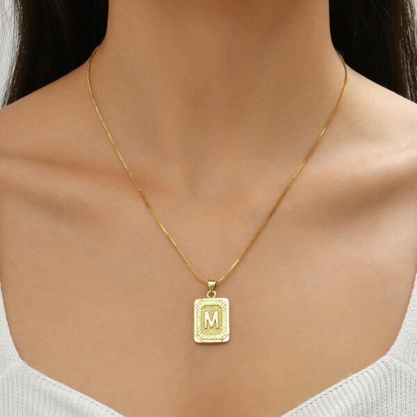 18K Gold Plated Letter Engraved Charm Necklace