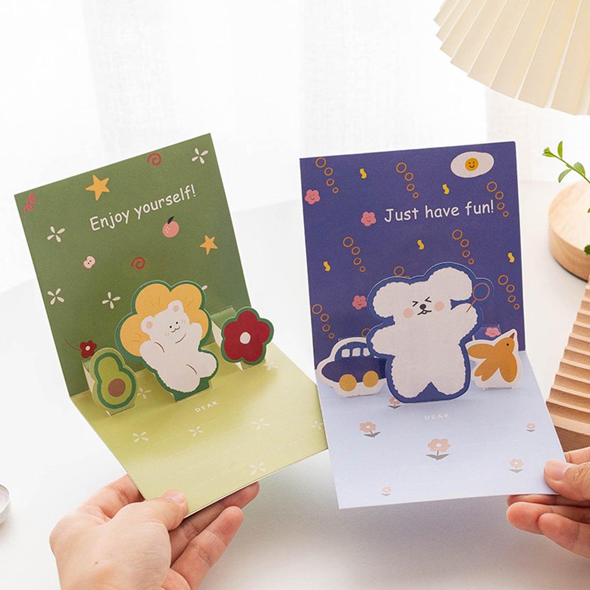 1 набор Случайная поздравительная открытка с мультипликационным узором