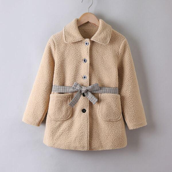 Girls Dual Pocket Belted Teddy Coat, Khaki