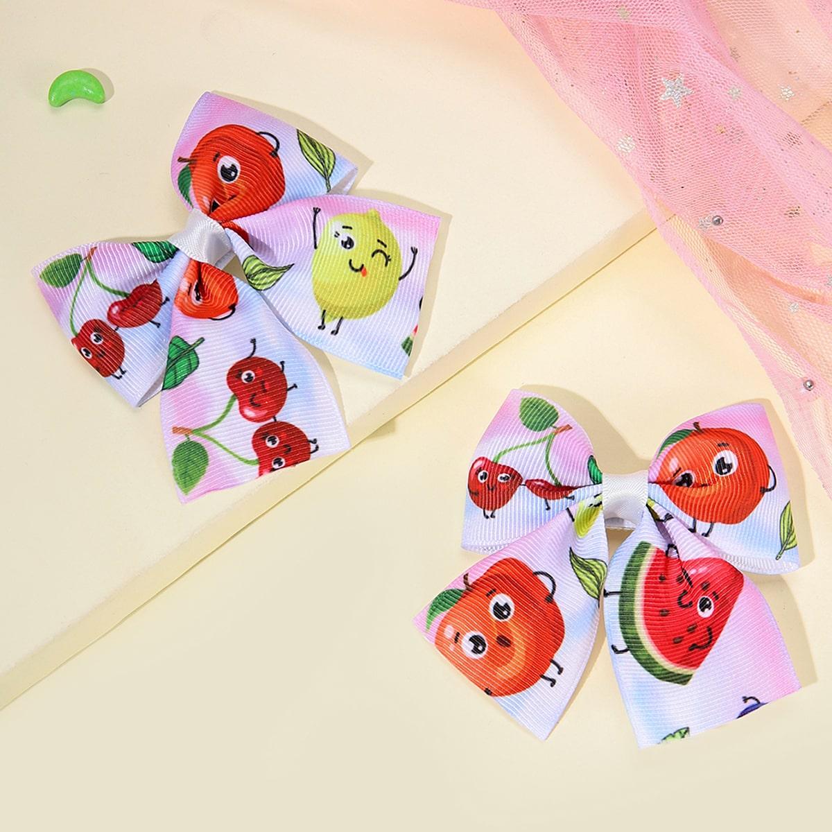 2pcs Toddler Girls Fruit Print Hair Clip