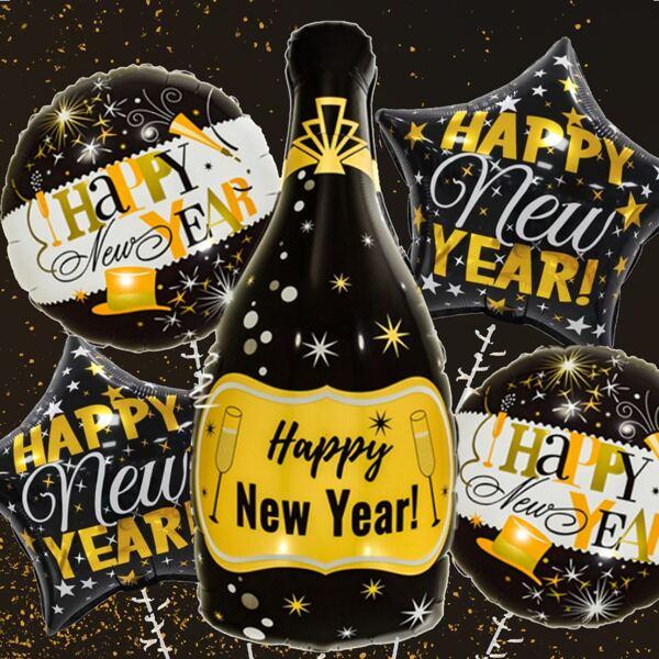 6pcs New Year Print Balloon, Multicolor
