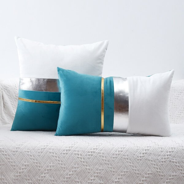 1pc Color Block Cushion Cover Without Filler, Multicolor