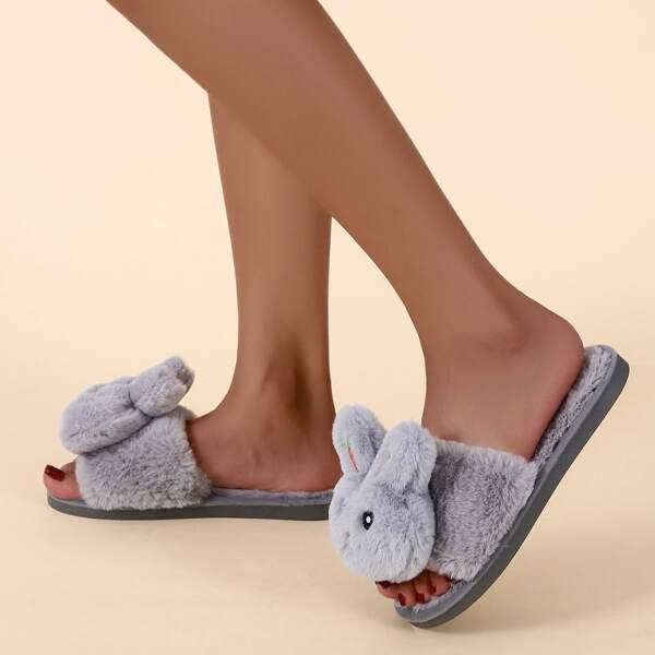 Doll Decor Fuzzy Slippers, Grey