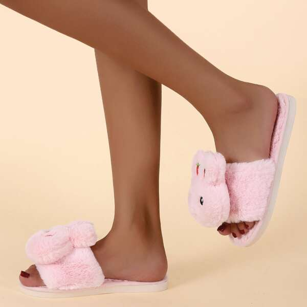 Doll Decor Fuzzy Slippers, Pink