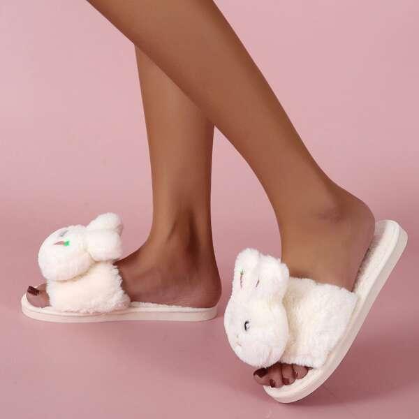 Doll Decor Fuzzy Slippers, White