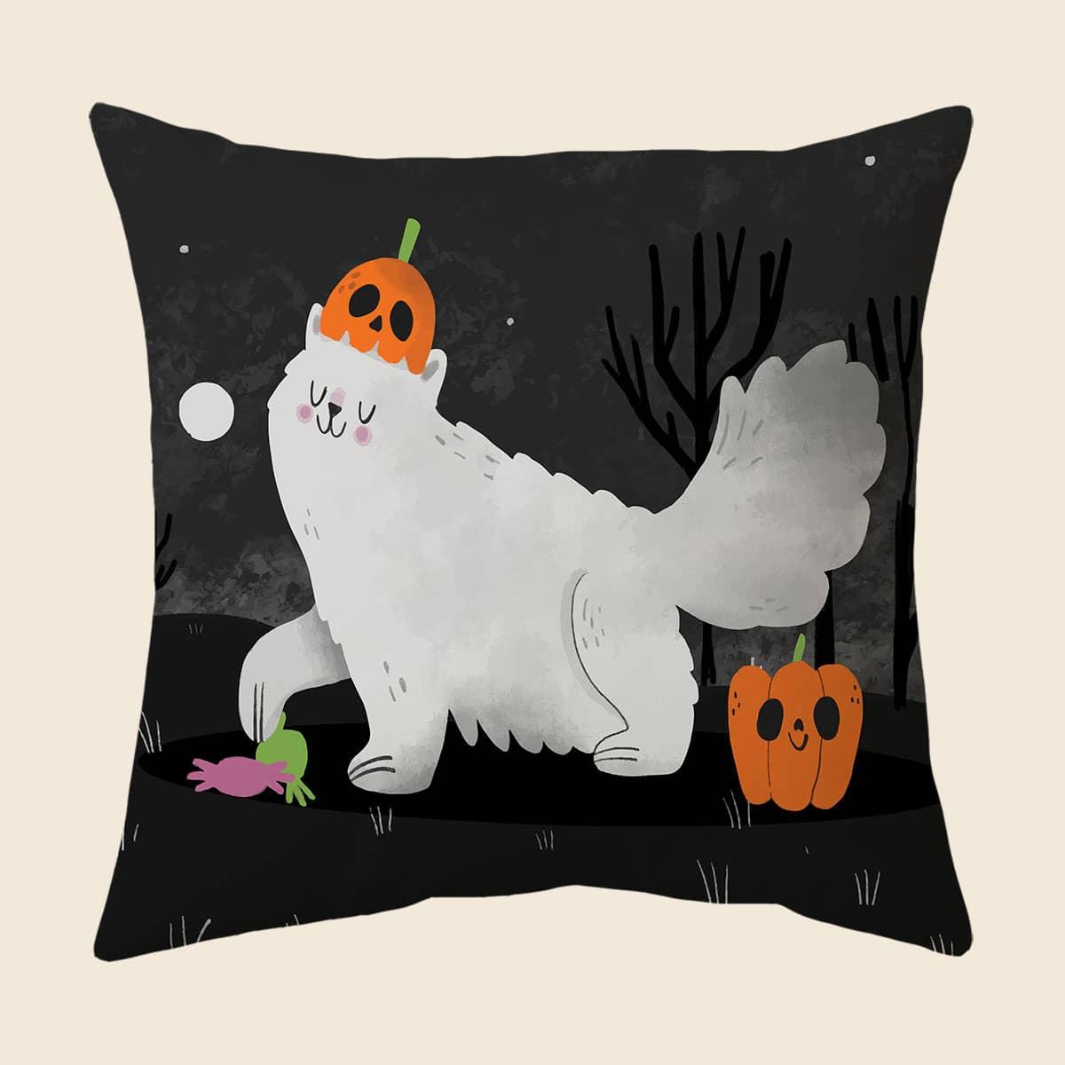 Чехол для подушки без наполнителя на хэллоуин с принтом кошки