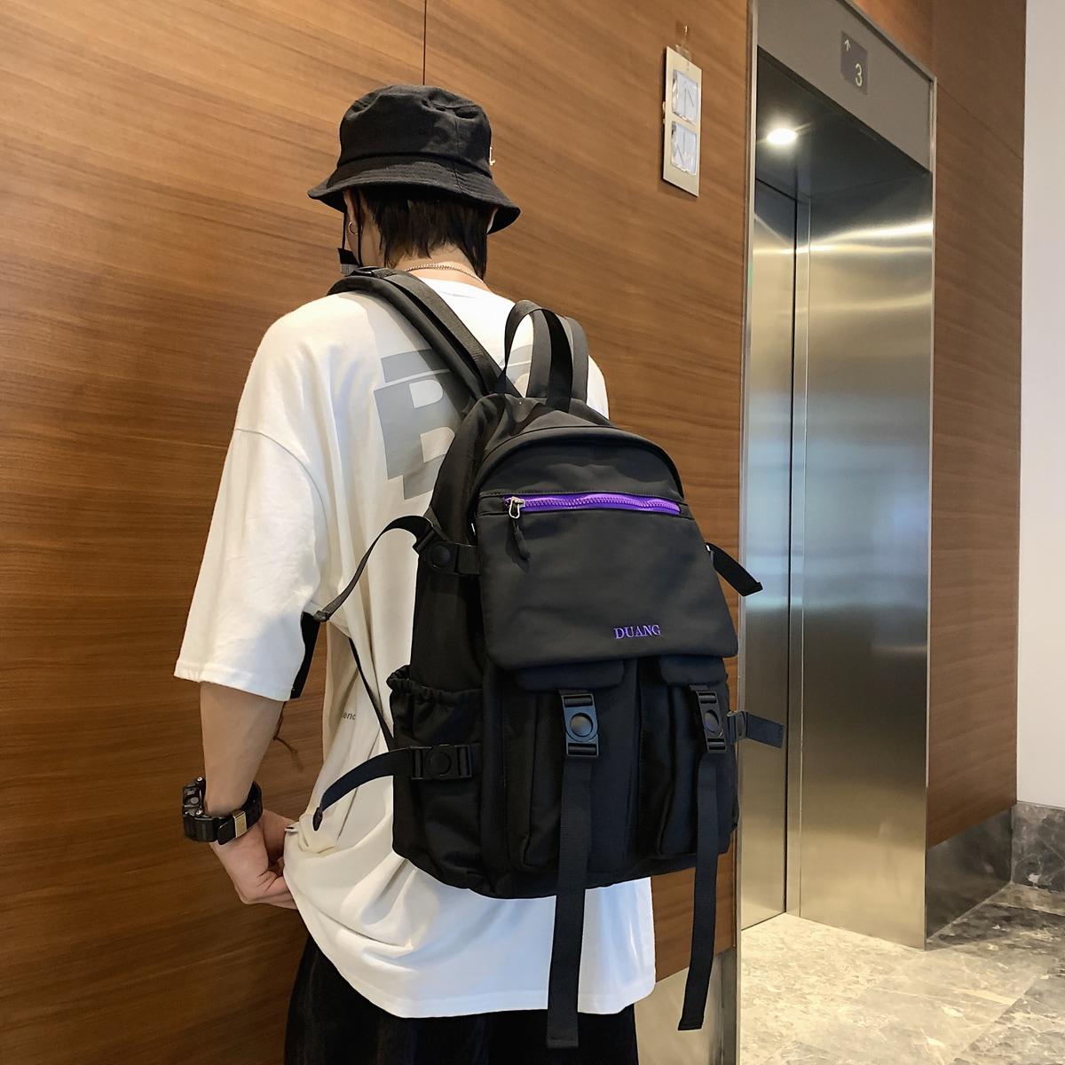 Men Release Buckle Decor Laptop Backpack